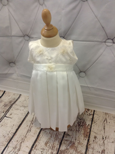 Lace Bodice Christening Dress, with Satin Skirt and Pearl Bead Detail.